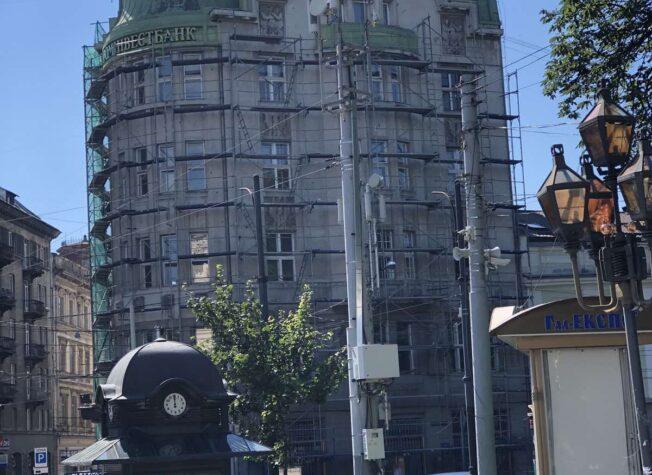 Колишній будинок Празького Банку (зараз – будинок Промінвестбанку України), вул. Гнатюка, 2,м. Львів, 2020 р.
